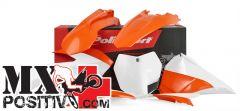 KIT PLASTICHE BASE ENDURO KTM 250 EXC F 2014-2016 POLISPORT P90644  COLORE OEM 2015 PORTANUMERI LATERALI NON INCLUSI CONVOGLIATORI RADIATORI E COPERCHI LATERALI CASSA FILTRO CON FINITURA LUCIDA COME MODELLI 2015