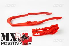 KIT CRUNA E PATTINO SCORRICATENA HONDA CRF 250X 2005-2006 UFO PLAST HO04632070 HO03691070 + HO03671070 ROSSO/RED