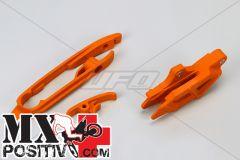 KIT CHAIN ROLLER AND CHAIN SLIDER KTM SX-F 250 2011-2015 UFO PLAST KT04030127  KT04028127 + KT04029127 ARANCIO/ORANGE