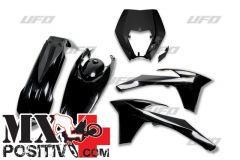 COMPLETE PLASTIC KIT KTM EXC-F 350 2012-2013 UFO PLAST KTKIT521001  CON PORTAFARO / WITH HEADLIGHT NERO / BLACK