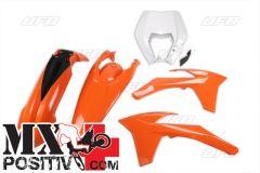 COMPLETE PLASTIC KIT KTM EXC-F 350 2012-2013 UFO PLAST KTKIT521999  CON PORTAFARO / WITH HEADLIGHT, KT03092127, KT04032127, KT04022127, KT04090047 OEM